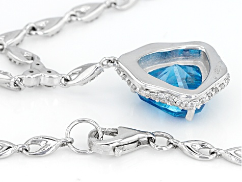 Blue And White Cubic Zirconia Rhoduim Over Sterling Silver Necklace 9.25ctw