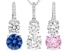 Blue Created Spinel, White/Pink Cz Rhodium Over Sterling Pendants With Chain 15.50ctw