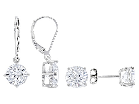 White Cubic Zirconia Rhodium Over Sterling Silver Earrings Set 13.84ctw