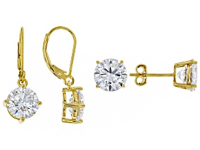 White Cubic Zirconia 18K Yellow Gold Over Silver Earrings Set 13.84ctw