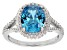 Blue And White Cubic Zirconia Rhodium Over Sterling Silver Ring 5.48ctw