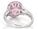 Pink And White Cubic Zirconia Rhodium Over Sterling Silver Ring 5.48ctw