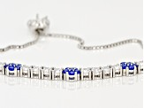 Lab Blue Spinel Spinel And White Cubic Zirconia Rhodium Over Sterling Bracelet 3.9ctw