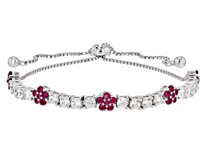 Red Synthetic Corundum And White Cubic Zirconia Rhodium Over Sterling Bracelet 3.90ctw