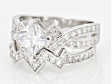 White Cubic Zirconia Rhodium Over Sterling Silver Ring With Band 3.00ctw