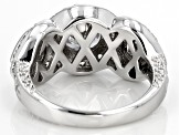 White Cubic Zirconia Rhodium Over Sterling Silver Heart Ring 4.80ctw