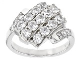 White Cubic Zirconia Rhodium Over Sterling Silver Ring 2.89ctw