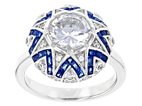 Blue And White Cubic Zirconia Rhodium Over Sterling Silver Ring 2.08ctw