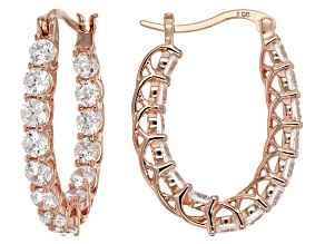 White Cubic Zirconia 18k Rose Gold Over Sterling Silver Earrings 4.79ctw