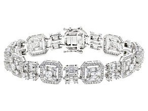 White Cubic Zirconia Rhodium Over Sterling Silver Bracelet 7.00ctw