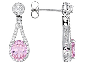 Pink And White Cubic Zirconia Rhodium Over Sterling Silver Earrings 5.13ctw