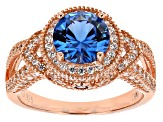 Lab Blue Spinel And White Cubic Zirconia 18k Rg Over Sterling Silver Ring 4.81ctw