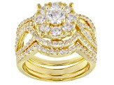 White Cubic Zirconia 18k Yellow Gold Over Silver Ring With Bands 3.38ctw
