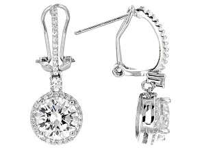 White Cubic Zirconia Rhodium Over Sterling Silver Earrings 7.75ctw