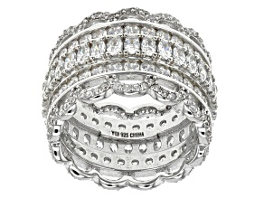 White Cubic Zirconia Rhodium Over Sterling Silver Ring 9.82ctw