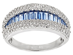 Blue Synthetic Spinel And White Cubic Zirconia Rhodium Over Sterling Silver Ring 2.94ctw