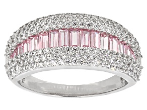 Pink And White Cubic Zirconia Rhodium Over Sterling Silver Ring 2.94ctw