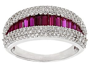 Red Lab Created Ruby And White Cubic Zirconia Rhodium Over Sterling Silver Ring 2.33ctw