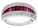Red Synthetic Corundum And White Cubic Zirconia Rhodium Over Sterling Silver Ring 2.33ctw