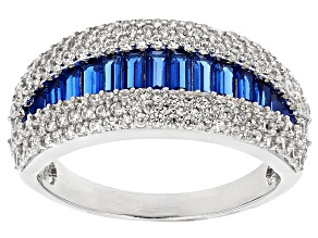 Blue Synthetic Spinel And White Cubic Zirconia Rhodium Over Sterling Silver Ring 2.23ctw