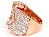 White And Pink Cubic Zirconia 18k Rose Gold Over Sterling Silver Ring 4.02ctw