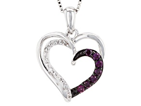 Purple And White Diamond Rhodium Over Sterling Silver Pendant .16ctw