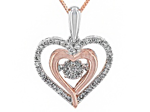 Diamond 10k White And Rose Gold Pendant .25ctw