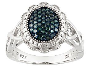 Blue Diamond Rhodium Over Sterling Silver Ring .22ctw