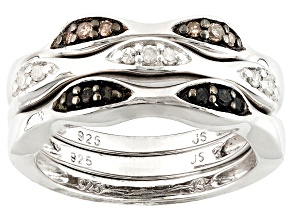 Black, Champagne And White Diamond Rhodium Over Silver Ring .25ctw