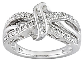 Diamond Rhodium Over Sterling Silver Ring .12ctw