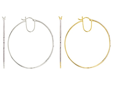 Diamond Accent Rhodium And 14k Yellow Gold Over Brass Earring Set Of Two .04ctw