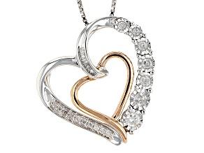 Diamond Rhodium And 14k Rose Gold Over Silver Pendant .25ctw