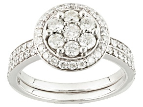 Diamond 14k White Gold Ring With Matching Band 1.12ctw