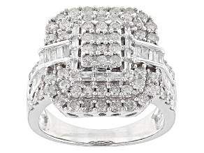 Diamond 10k White Gold Ring 1.85ctw