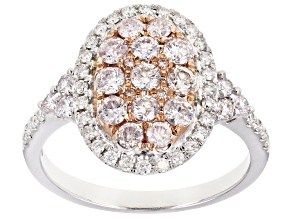 Natural Pink And White Diamond 14k Rose And White Gold Ring 1.10ctw