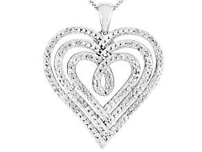 Diamond Rhodium Over Sterling Silver Pendant .50ctw