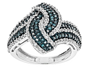 Blue And White Diamond Rhodium Over Sterling Silver Ring 1.05ctw