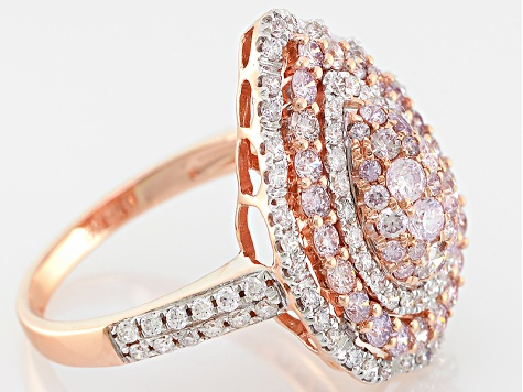 pink and white diamond 14k rose gold ring 1.53ctw