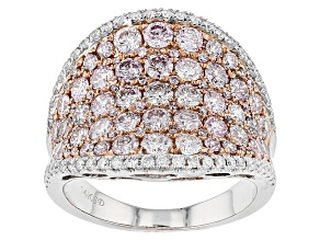 Pink And White Diamond 14k Two-Tone Gold Ring 2.82ctw