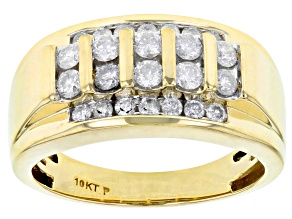 White Diamond 10k Yellow Gold Gents Ring 1.10ctw