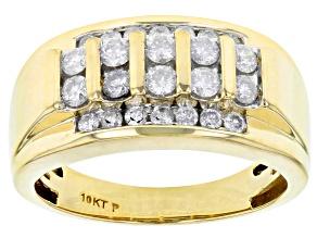 White Diamond 10k Yellow Gold Gents Ring 1.10ctw