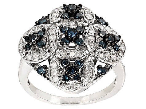 Blue And White Diamond Rhodium Over Sterling Silver 1.00ctw