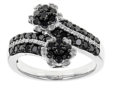 Black And White Diamond Rhodium Over Sterling Silver Ring 1.00ctw