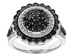 Black And White Diamond Rhodium Over Sterling Silver Ring 1.50ctw