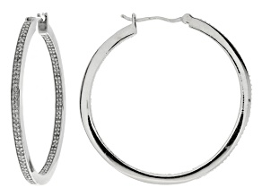 White Diamond Rhodium Over Sterling Silver Earrings .50ctw