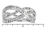 White Diamond Rhodium Over Sterling Silver Ring .20ctw