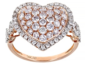 Natural Pink And White Diamond 14k Rose Gold Ring 1.43ctw