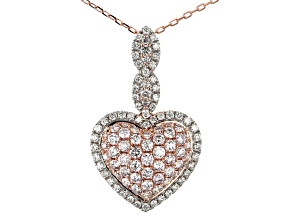 Natural Pink And White Diamond 14k Rose Gold Pendant 1.42ctw