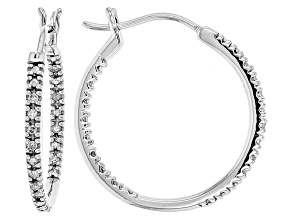 White Diamond Rhodium Over Sterling Silver Earrings .20ctw