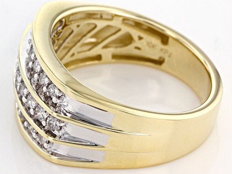 White Diamond 10k Yellow Gold Mens Ring 1.00ctw